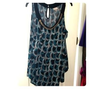 Blue and black sleeveless top size 22/24 silk tops
